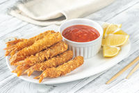 Shrimp tempura with sauce on the plate