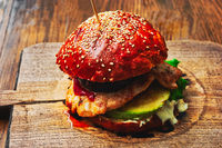 Delicious Hamburger On Wooden Board Matte Look With Lifted Shadows