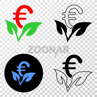 Euro Startup Sprout Vector EPS Icon with Contour Version