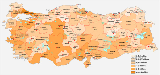 Vector population map of the Turkish provinces