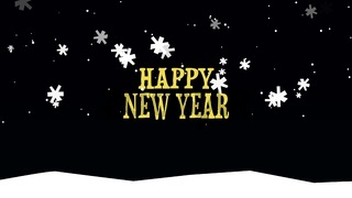 Happy New Year text on snow background