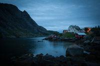 A moody village at dusk on Lofoten Island