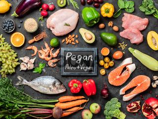 Pegan diet concept. Paleo plus vegan food ingredients