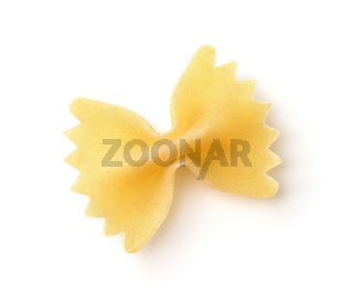 Top view of single uncooked farfalle