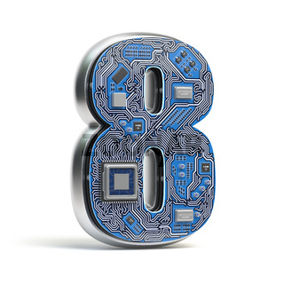 Number 8 eight, Alphabet in circuit board style. Digital hi-tech letter isolated on white.