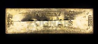 Gold bar bullion inverted
