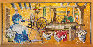 Mosaic of old agricultural scene in Dutch outdoor museum Ootmarsum