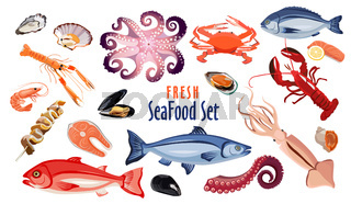 Fresh seafood icon set, products for restaurant or cafe design