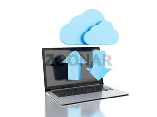 3d laptop and Cloud