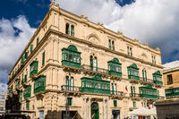 View of a building located in the city of Valletta in Malta.