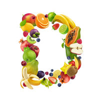 Letter D made of different fruits and berries, fruit font isolated on white background