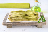 Spinach fettuccine with fresh rosemary