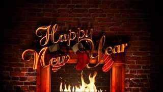 Closeup fireplace, gifts in the Christmas socks and Happy New Year text
