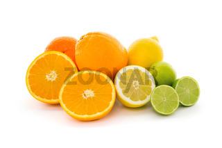 Ripe citrus fruits isolated on white background. Health