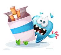 Smoking hurts your teeth. Cartoon illustration.