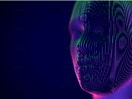 Virtual reality or cyberspace concept: model of male face.