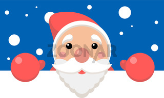 Vector xmas illustration of funny santa holding blank paper with space for text. Christmas background