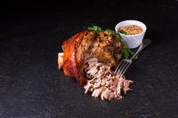 crispy fried Bavarian pork knuckle with soft meat