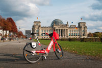 Bike sharing bicycle Jump by Uber in front of the Reichstag building in Berlin