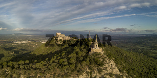 Aerial view of the statue of Christ and the Sant Salvador sanctuary, Mallorca