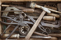 Old box with the different hand tools