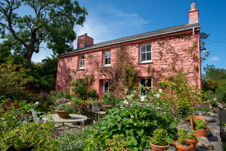 Pink cottage of the Dyffryn Fernant Garden