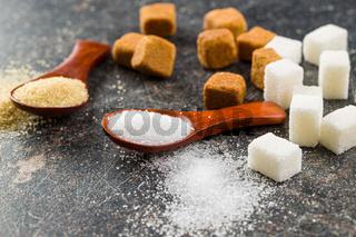 White and brown sugar.