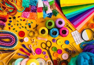 Craft supplies for creative handmade, top view set
