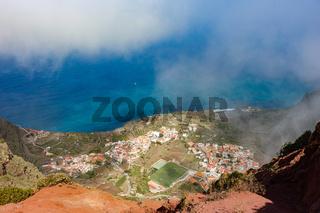 Blick vom Aussichtpunkt Mirador de Abrante auf Agulo, La Gomera, Spanien