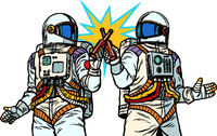 Two astronauts drink beer. Male friendship