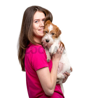 Pretty girl with terrier puppy