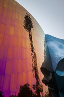SEATTLE, WASHINGTON, USA - JULY 4, 2014: Distorted reflection of the Space Needle in the Museum of Pop Culture