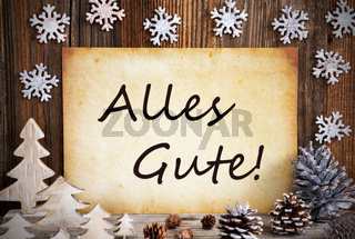 Old Paper, Christmas Decoration, Alles Gute Means Best Wishes