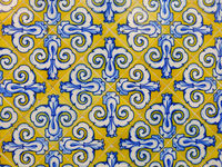 Colorful tile, detail of the Central Market in Valencia, Spain.