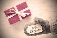 Gray Glove, Pink Gift, Label, Snowflakes, Frohe Weihnachten Mean Merry Christmas