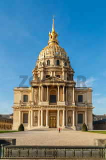 Paris, France, March 30, 2017: Les Invalides hospital and chapel dome, France. As well as a hospital and a retirement home for war veterans since 1678. Museum relating to military history of France