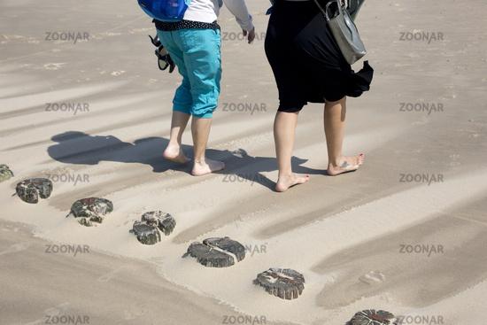 Küstenschutz durch hölzerne Buhnen am Sandstrand - zwei Frauen spazieren barfuss am Strand