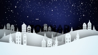 Closeup night village and snowing landscape