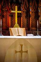 Interior of church before wedding ceremony