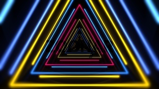 Colorful neon lines and triangles abstract background