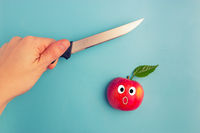 fruits scared of a knife