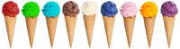 Eis in der Waffel Sammlung Kugel in einer Reihe isoliert Sommer Freisteller freigestellt