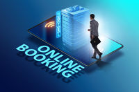 Concept of online hotel booking with businessman