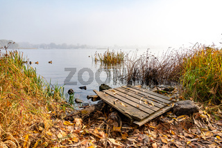 Wooden pontoon  on the Dnieper river
