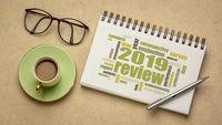 2019 annual  review word cloud on in sketchbook