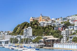 Blick vom Hafen von Wellington auf Mount Victoria auf der Nordinsel von Neuseeland