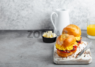 Breakfast sandwiches with scrambled egg