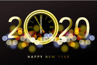 Happy New Year 2020 - New Year Shining background with gold clock and glitter, vector illustration.