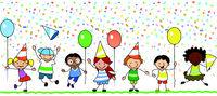 happy kids celebrating birthday party - children illustration -
