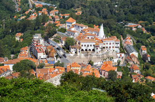 The Palace of Sintra as seen from the Moorish castle on the top of the hill. Sintra. Portugal